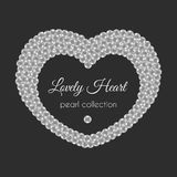 Pearl heart. Vector frame in heart shape. White pearls design. Stock Images