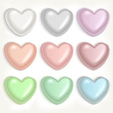 Pearl hearts. Set of color pearl hearts Royalty Free Stock Photo