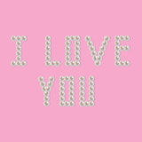 Pearl i love you. I love you written with pearl beads Royalty Free Stock Photo