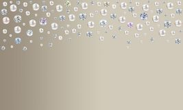 Diamonds and pearls raining from top on pale taupe brown satin b stock illustration