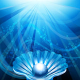 The Pearl. Illustration with pearl in open shell against blue sea background with bubbles and sun rays royalty free illustration