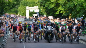 Pearl Izumi Tour Series Bicycle Race Final in Bath England. The peleton rides in the Pearl Izumi Tour Series bicycle race final on June 11, 2015 in Bath, UK Stock Image