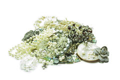 Pearl jewelery on white. Background stock photos