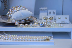 Pearl jewelry in shop Royalty Free Stock Images
