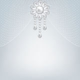 Pearl jewerly and lace background Stock Image