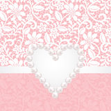 Pearl jewerly and lace background Stock Images