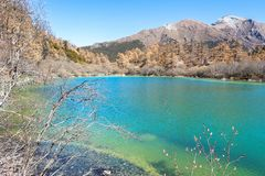Pearl Lake at Yading Nature Reserve in Sichuan, China royalty free stock photography