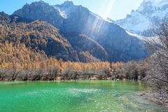 Pearl Lake at Yading Nature Reserve in Sichuan, China stock images