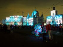 Pearl Lodz in lights festival. Stock Photo