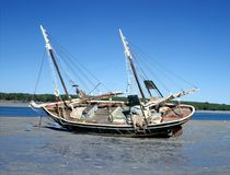Pearl lugger at low tide. On Roebuck Bay,Broome, Western Australia Royalty Free Stock Photography