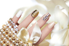 Pearl Manicure. Stock Photo