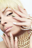 Pearl manicure. royalty free stock photos