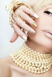 Pearl manicure. royalty free stock photo