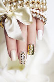 Pearl manicure. royalty free stock image
