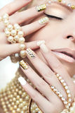 Pearl manicure. Royalty Free Stock Images