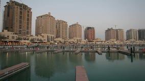 The Pearl marina in Doha stock video