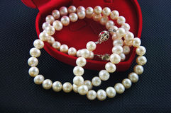 Pearl necklace against a black background Stock Photography