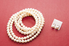 Pearl Necklace And Earings Royalty Free Stock Photography