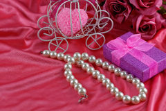 Pearl necklace. Aniversary theme Royalty Free Stock Photography