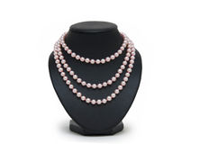 Pearl necklace on black mannequin isolated Royalty Free Stock Photography