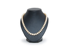 Pearl necklace on black mannequin isolated Royalty Free Stock Image