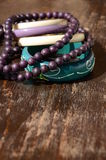 Pearl Necklace and Bracelets. Wooden Pearl Necklace and Bracelets royalty free stock photography