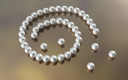 Pearl necklace cut cord.3d illustrate. Pearl necklace cut cord. 3d illustrate Royalty Free Stock Image