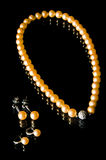 Pearl necklace and earrings Stock Photos