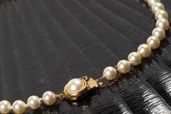 Pearl necklace fragment Royalty Free Stock Photo
