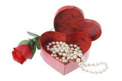 Pearl Necklace in Gift Box. On White Background Royalty Free Stock Photos