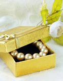 Pearl necklace in  gift box Stock Images
