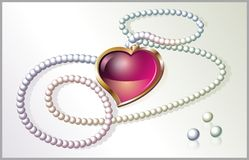 Pearl necklace with heart. Pearl necklace with a heart pendant. Vector illustration Royalty Free Stock Image