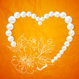 Pearl necklace and a heart-shaped cherry royalty free illustration