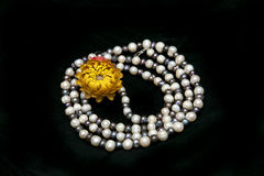 Pearl necklace isolated on black background Stock Photo