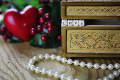Pearl necklace love box Royalty Free Stock Images