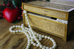 Pearl necklace love box Stock Images