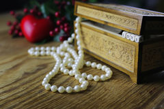 Pearl necklace love box Royalty Free Stock Photo