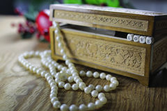 Pearl necklace love box Stock Photos