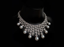 Pearl Necklace. Pearl luxury necklace on black background Royalty Free Stock Photos