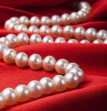 Pearl necklace on luxury satin background Stock Images