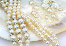 Pearl necklace with natural pearls in a oyster shell Stock Images