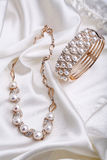 Pearl necklace and pearl bracelet Stock Image