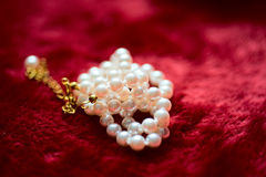 Pearl necklace on plush red material. A pearl necklace sitting on plush red material, creating a luxurious and enticing image Royalty Free Stock Photo