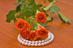 Pearl necklace and red roses Stock Photography