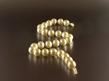 Pearl necklace with reflection Stock Photography