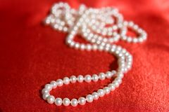 Pearl necklace, small DOF. Luxury white Pearl's necklace on red background, small DOF Royalty Free Stock Photo