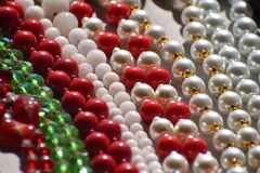 Pearl necklace white Pearl necklace Red Pearl necklace stock image
