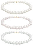 Pearl necklace. A white pearl necklace selection with cream, rose or silver overtones Stock Photo