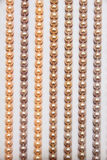 Pearl necklaces. The close-up of pearl necklaces royalty free stock image