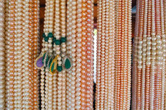 Pearl necklaces. The close-up of pearl necklaces stock photo